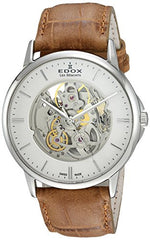 Edox Men's 'Les Bemonts' Swiss Automatic Stainless Steel and Leather Dress Watch, Color:Brown (Model: 85300 3 AIN)