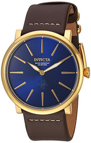 Invicta Men's 'I-Force' Quartz Stainless Steel and Leather Casual Watch, Color:Brown (Model: 22934)