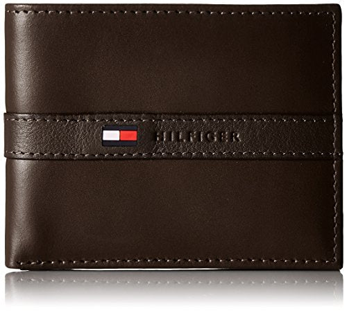 Tommy Hilfiger Men's Ranger Leather Passcase Wallet with Removable Card Holder,Brown,One Size