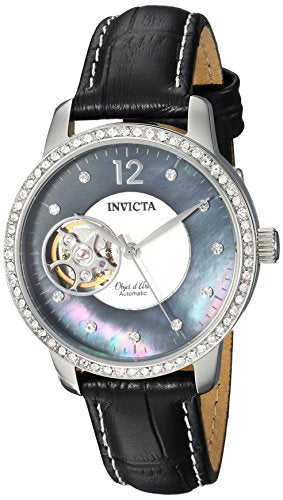 Invicta Women's 'Objet D Art' Automatic Stainless Steel and Leather Casual Watch, Color:Black (Model: 22620)