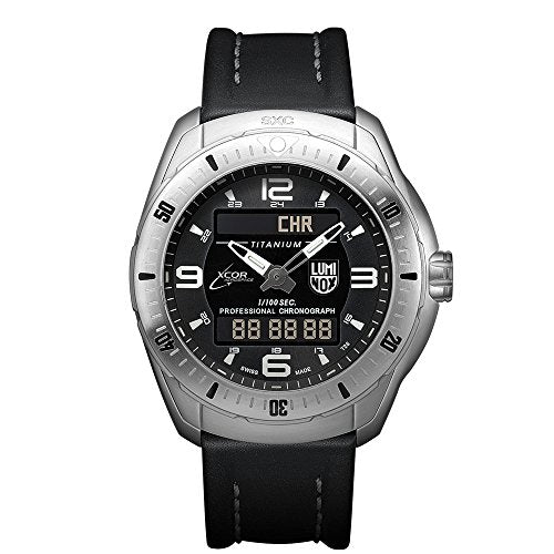 Luminox Xx.5241.xs Men's Xcor Space Expedition Titanium Case Black Leather Black Dial Silver Watch