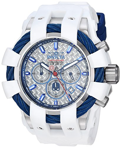 Invicta Men's 'Marvel' Quartz Stainless Steel and Silicone Watch, Color:White (Model: 26010)