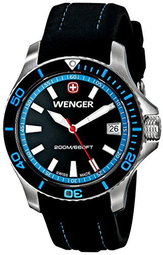 Wenger Women's 0621.102 Sea Force 3 H Analog Display Swiss Quartz Black Watch