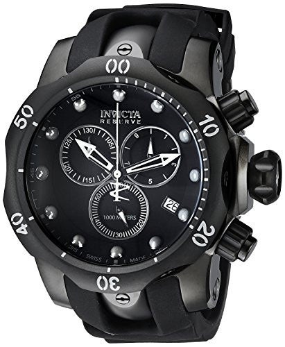 Invicta Men's 6051 Venom Reserve Black Stainless Steel Watch with Polyurethane Band