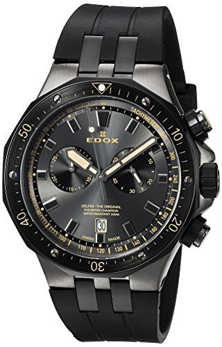 Edox Men's 'Delfin' Quartz Stainless Steel Dress Watch, Color:Black (Model: 10109 357GNCA NINB)