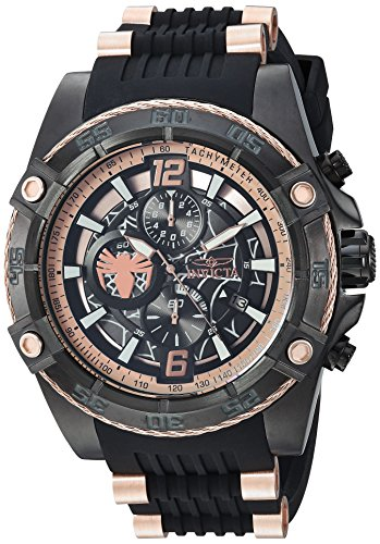 Invicta Men's 'Marvel' Quartz Stainless Steel and Silicone Watch, Color:Black (Model: 26769)