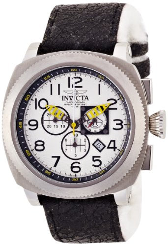 Invicta 12314 Mens Aviator Stainless Steel Case Cloth and Leather Bracelet White Tone Dial Watch