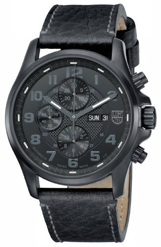 Luminox Mens Blackout Valjoux Field Automatic Chronograph - Leather Strap - 100M