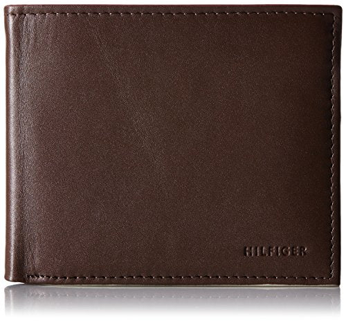 Tommy Hilfiger Men's Donny Genuine Leather Double Billfold Passcase Wallet,Brown,One Size