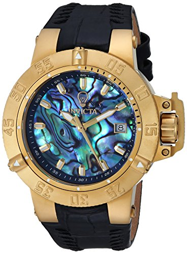 Invicta Women's 'Gabrielle Union' Quartz Gold-Tone and Leather Casual Watch, Color:Black (Model: 23180)