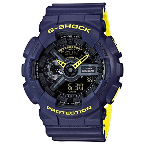 Men's Casio G-Shock Anti-Magnetic Navy Blue and Neon Yellow Resin Watch GA110LN-2A
