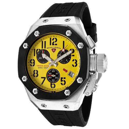 Swiss Legend Men's 10541-07-BB Trimix Diver Collection Chronograph Black Rubber Watch