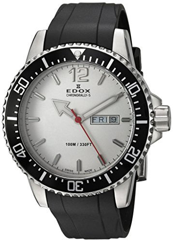 Edox Men's 'Chronorally-S' Quartz Stainless Steel and Rubber Sport Watch, Color:Black (Model: 84300 3CA ABN)