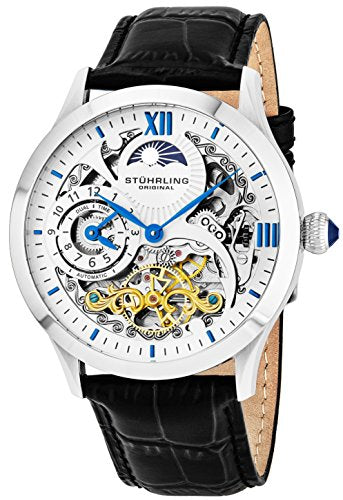 9d5ce63b0 Stührling Original Mens Stainless Steel Automatic Watch, White Skeleton Dial,  Blue Accents Dual Time