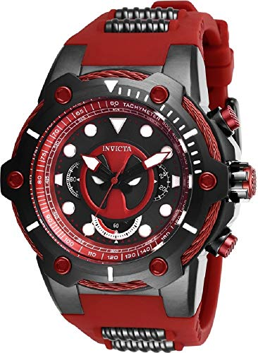 Invicta Marvel Limited Edition 27487 Deadpool 52mm Stainless Steel Red Dial Men's Watch
