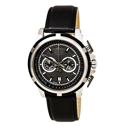 Harley-Davidson Men's Bulova Watch, Weekend Warrior Round, Black Strap 76B168