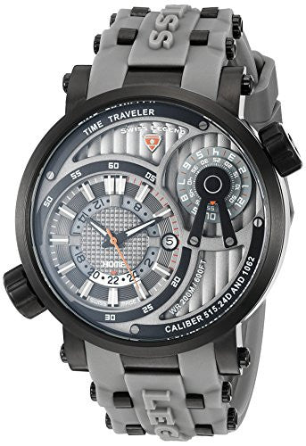 Swiss Legend Men's 'Time Traveler' Swiss Quartz Stainless Steel Casual Watch (Model: 13841SM-BB-014-GRYS)