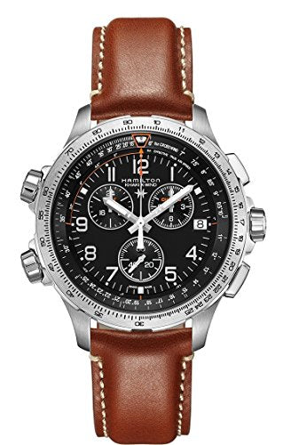 Hamilton X-Wind GMT H77912535 Black / Brown Leather Analog Quartz Men's Watch