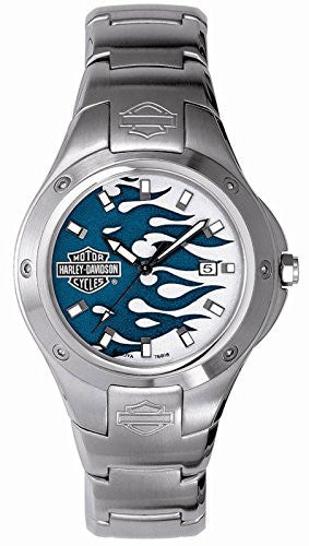 Harley Davidson Bulova Men's Flame Watch. Silver with blue flame dial. Stainless steel case and bracelet. 76B18