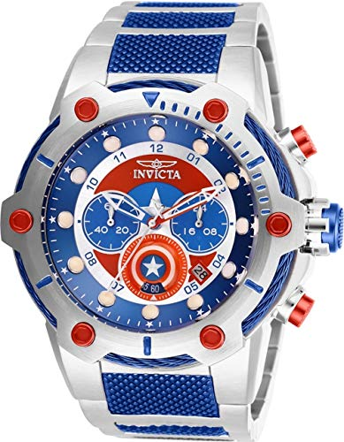 Invicta Marvel Captain America Men's 50mm Quartz Chronograph Stainless Steel Bracelet Watch (Model: 27965)
