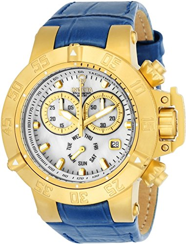 Invicta Women's 'Gabrielle Union' Quartz Gold-Tone and Leather Casual Watch, Color:Blue (Model: 23173)