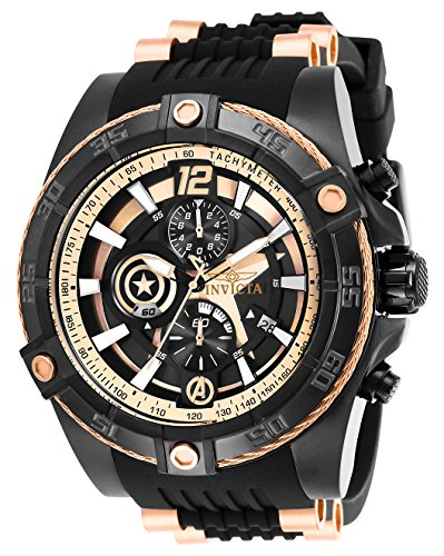 Invicta Men's 26791 Marvel Quartz Multifunction Rose Gold, Black Dial Watch