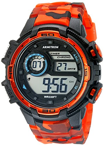 Armitron Sport Men's 40/8347COR Digital Chronograph Black and Orange Camouflage Resin Strap Watch