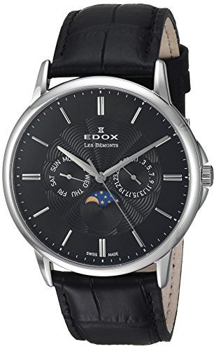 Edox Men's 'Les Bemonts' Swiss Quartz Stainless Steel and Leather Dress Watch, Color:Black (Model: 40002 3 NIN)