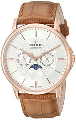 Edox Men's 'Les Bemonts' Swiss Quartz Stainless Steel and Leather Dress Watch, Color:Brown (Model: 40002 37R AIR)
