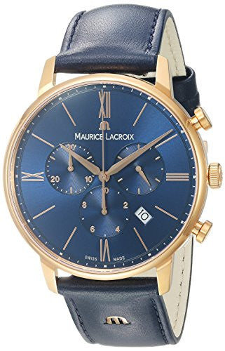 Maurice Lacroix Men's 'Eliros' Quartz Gold and Leather Casual Watch, Color:Blue (Model: EL1098-PVP01-411-1)