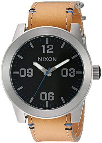 Nixon Men's 'Corporal, Black / Natural' Quartz Stainless Steel and Leather Watch, Color:Brown (Model: A243-2299-00)