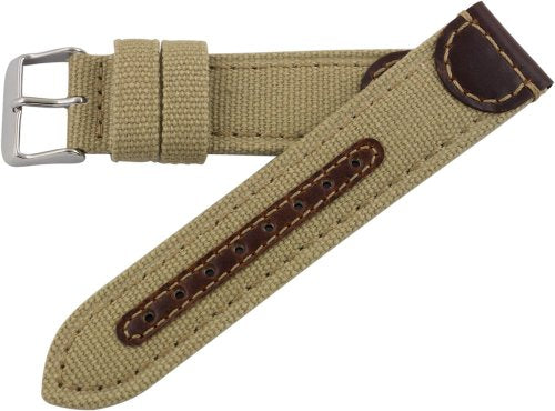 Hadley Roma MS868 20mm Khaki Genuine Leather & Canvas Stitched Men's Watch Band