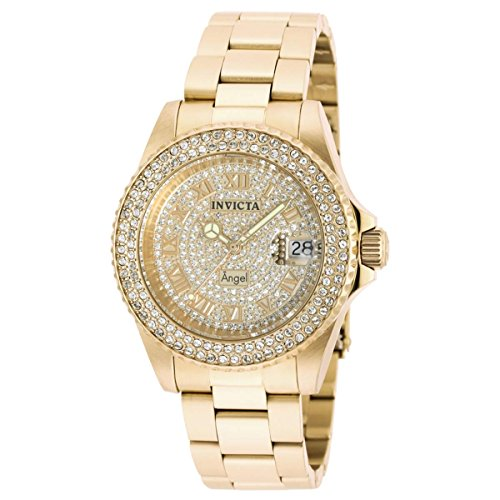 Invicta Women's 90255 Angel Quartz 3 Hand Pave, Gold Dial Watch