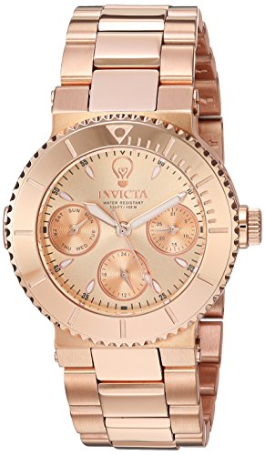 Invicta Women's 'Gabrielle Union' Quartz Stainless Steel Casual Watch, Color:Rose Gold-Toned (Model: 22896)
