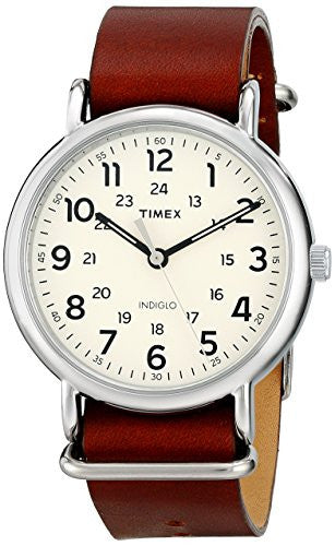 Timex Unisex T2P495 Weekender Oversize Brown Leather Slip-Thru Strap Watch