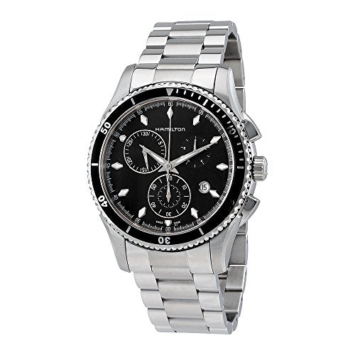 Hamilton Men's H37512131 Jazzmaster Seaview Black Chronograph Dial Watch
