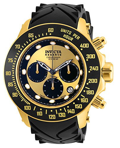 Invicta Men's 'Reserve' Quartz Gold-Tone and Silicone Casual Watch, Color:Black (Model: 22139)