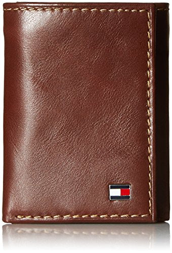 Tommy Hilfiger Men's Logan Trifold Wallet with Zipper, Tan, One Size