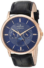 Edox Men's 'Les Bemonts' Swiss Quartz Stainless Steel and Leather Dress Watch, Color:Blue (Model: 40002 37R BUIR)