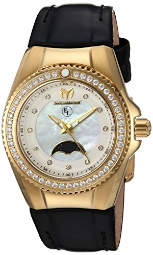 Technomarine Women's 'Eva Longoria' Quartz Gold-Tone and Leather Casual Watch, Color:Black (Model: TM-416020)