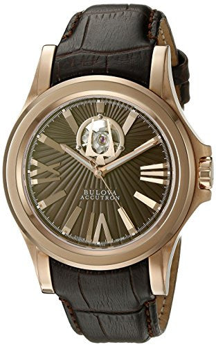 Bulova Men's 'Kirkwood' Swiss Automatic Stainless Steel and Leather Casual Watch, Color:Brown (Model: 64A102)