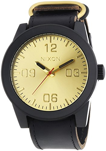 Nixon A243-010 Mens Corporal Black Gold Watch