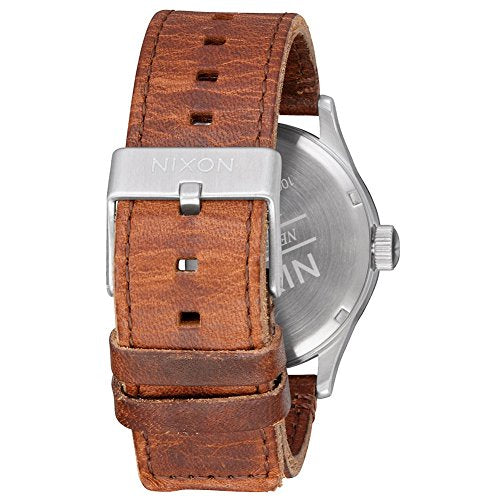 New Nixon Men's Sentry Leather Watch Stainless Steel Waterproof Leather Brown
