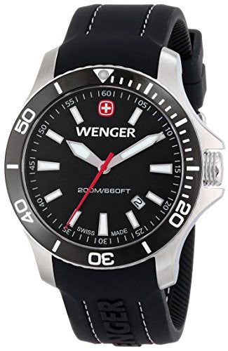 Wenger Men's 0641.103 Sea Force 3 H Analog Display Swiss Quartz Black Watch
