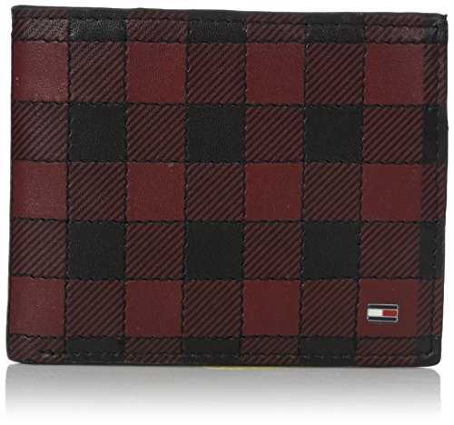 Tommy Hilfiger Men's 100% Leather Plaid Fixed Passcase