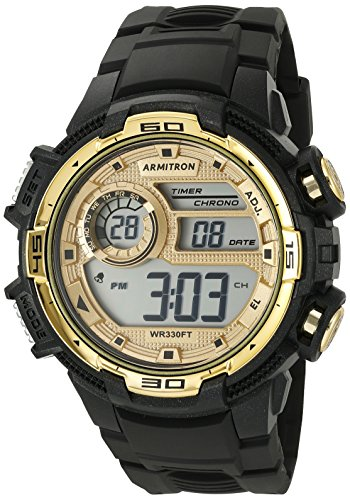 Armitron Sport Men's 40/8347BKGD Gold-Tone Accented Digital Chronograph Black Resin Strap Watch