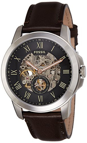 Fossil Men's ' Mechanical Hand Wind Stainless Steel and Leather Casual Watch, Color:Brown (Model: ME3095)