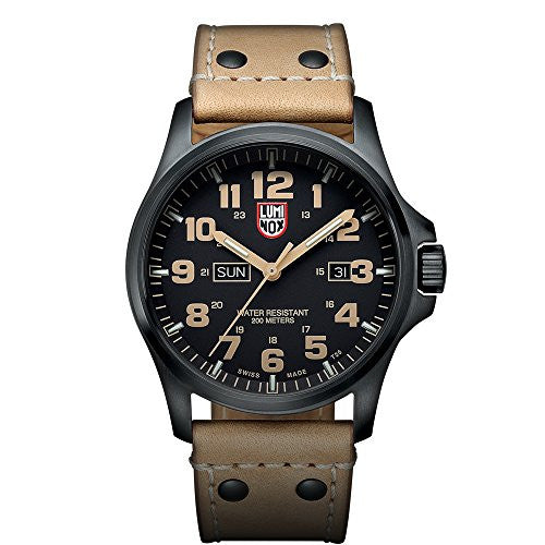 Luminox Men's XL.1925 Atacama Field Day Black Analog Swiss Quartz Brown Leather Watch