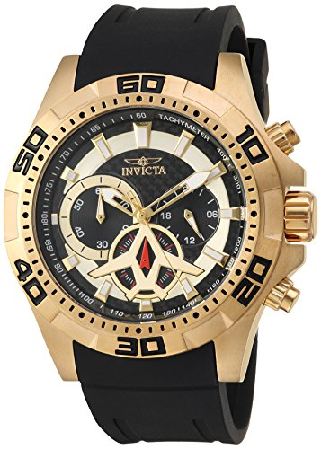 Invicta Men's 'Aviator' Quartz Stainless Steel and Polyurethane Casual Watch, Color:Black (Model: 21738)