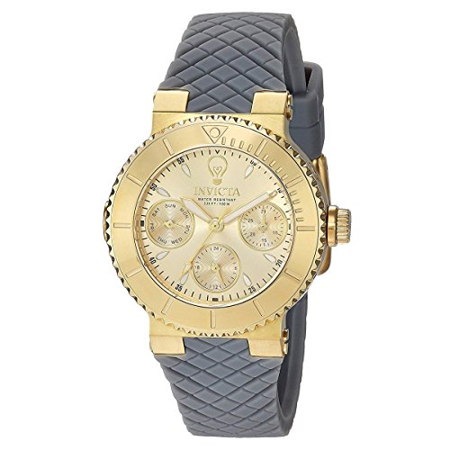 Invicta Women's 'Gabrielle Union' Quartz Gold-Tone and Silicone Casual Watch, Color:Grey (Model: 22954)